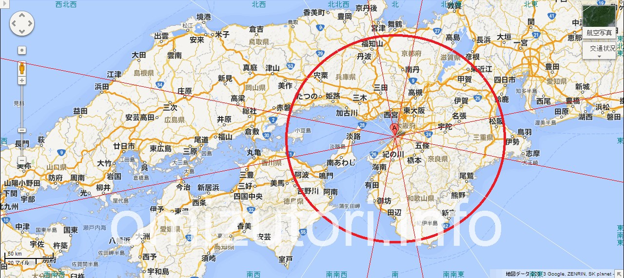大阪府岸和田市から見た吉方位地図&主なパワースポット